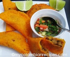Colombian Empanadas--not to be biased but out of all the ones I've tried, we have the best.Cuban empanadas are close tho ; My Colombian Recipes, Colombian Cuisine, Colombian Dishes, Good Food, Yummy Food, Mexican Food Recipes, Ethnic Recipes, Comida Latina, Latin Food