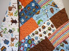 Boy Crib Bedding Baby Quilt Toddler Quilt by NowandThenQuilts, $160.00. #boypattern