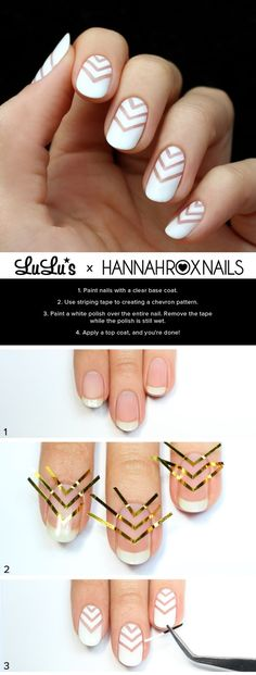 Awesome Nail Art Patterns And Ideas - White Chevron Negative Space Tutorial - Step by Step DIY Nail Design Tutorials for Simple Art, Tribal Prints, Best Black and White Manicures. Easy and Fun Colors, Shapes and Designs for Your Nails. Uñas Diy, Nagellack Design, Romantic Nails, Negative Space Nails, Nagel Hacks, Manicure E Pedicure, Pedicure Colors, French Pedicure, Pedicure Ideas