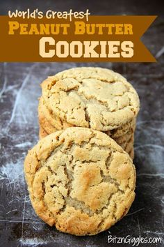 World's Greatest Peanut Butter Cookies - Readers agree this is the best peanut butter cookie they've ever tasted! Melt-in-your-mouth, soft and delicious peanut butter cookies. These are a readers' favorite recipe! Chewy Peanut Butter Cookies, Peanut Butter Recipes, Chocolate Chip Cookies, Soft Peanutbutter Cookies, Cookie Recipe No Milk, Cookies With No Butter, Recipe For Cookies, Peanut Butter Cookie Recipe Soft, Peanut Butter Biscuits