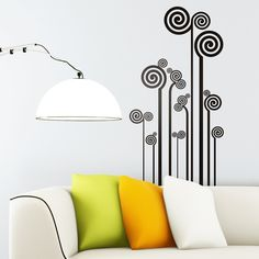 This wall sticker is a decorative floral abstraction based on straight lines and spirals. Simplicity in this stylized floral. Wall Murals, Wall Art, Wall Stickers, New Homes, Wall Decor, Black And White, Powder Room, Home Decor, Stencils