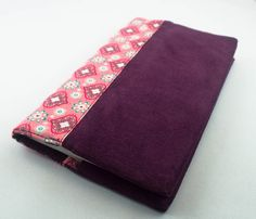 Porte-chéquier réversible tissu velours prune et coton rétro/vintage