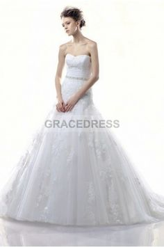 Buy A-line Court Train Strapless Lace A line Wedding Dresses A0133 With Quality Guarantee, 7 Days Return Polciy And Free Shipping to UK.