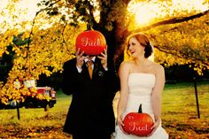 "Unique Fall Wedding Photo | Fun with pumpkins! Use pumpkins in your photos. They can be used to write thank yous or in this case ""Trick or Treat"" 