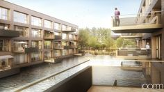 Fotorealistische Architektur Architekturdarstellungen einer Wohngsbau Immobilie von Mlzd Architekten in Nidau. Architecture Visualisation loomn 3D Visual Illustration Archviz