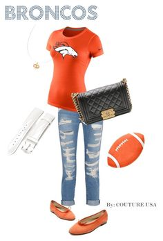 """""""Super Bowl Chic - Broncos"""" by coutureusa ❤ liked on Polyvore featuring Chanel, Current/Elliott, NIKE, Hermès, Michele, women's clothing, women, female, woman and misses"""