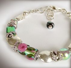 Dichroic Glass Bracelet with Hill Tribe Fine by jQjewelrydesigns, $75.00