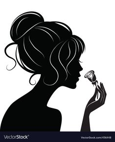 Beauty girl silhouette with rose Royalty Free Vector Image Cheap Wall Stickers, Vinyl Wall Decals, Girl Silhouette, Hair Shop, Stencil Designs, Flowers In Hair, Quilling, Girl Tattoos, Silhouettes