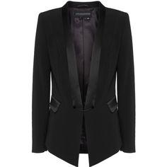 GUIDO MARIA KRETSCHMER PREMIUM Hanny Black // Blazer with satin... ($440) ❤ liked on Polyvore featuring outerwear, jackets, blazers, slim black blazer, embellished jacket, satin blazer, satin jacket and slim fit jacket