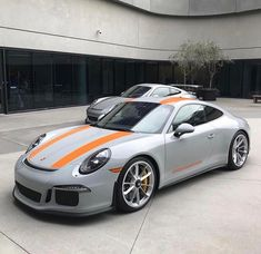 This is such a wonderful build: Sport Classic Grey with Signal Orange script and striping #Porsche #911R Pic by @meritpartners
