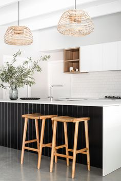 Home Decor 2019 Cray pot pendants, black panelling and cube shelving are complimented with simple white cabinetry and mat tiles. Interior Design by Jo Carmichael/ Texture Tone Design. Photography by Dion Robeson Home Decor Kitchen, Interior Design Kitchen, Home Kitchens, New Kitchen, Coastal Kitchens, Kitchen Decorations, Decorating Kitchen, Interior Plants, Kitchen Modern