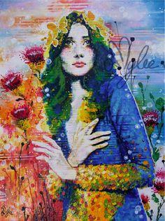 """Athena"", Amylee's painting, #art #portrait #flowers #artwork www.amylee.paris"