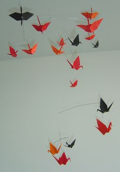 Shades of Red Origami Mobile