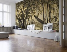 Stylish vintage living room with a tropical wall mural modern room decoration. Nature of South America removable wall mural in fall colors Vintage Wallpapers, Retro Wallpaper, Vintage Interior Design, Modern Interior, Vintage Decor, Vintage Style, Modern Room Decor, Removable Wall Murals, Beautiful Wall