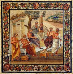 Pompeii, Mosaic from the villa of T. Siminius Stephanus, 'Plato's academy', second style, early 1st century B.C., Archeological Museum, Naples