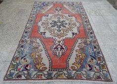 4'6''X7'3'' / 136x221 cm OUSHAK Rug, Vintage Handwoven Turkish Rug,Center Medallion Carpet Rug,Distressed Decorative Rug,Faded Pink Red Rugs