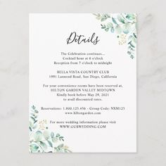 Shop Eucalyptus Greenery Guest Information Enclosure Card created by PeachBloome. Personalize it with photos & text or purchase as is! Wedding Invitation Inserts, Wedding Invitations, Invites, Geometric Wedding, Wedding Website, Greenery, Reception, Marriage, Cards