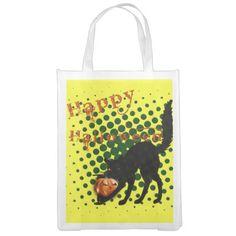Halloween Black Cat Reusable Grocery Bags