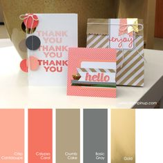 Crisp Cantaloupe, Calypso Coral, Crumb Cake, Basic Gray, Gold Stampin' Up! Colour Schemes, Color Combinations, Stampin Up, Colours That Go Together, Design Seeds, Card Making Techniques, Colour Board, Shabby, Coordinating Colors