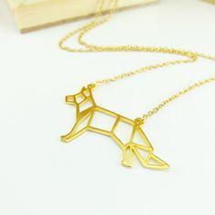 Glorikami, Origami Fox Necklace by glorikamishop on Etsy