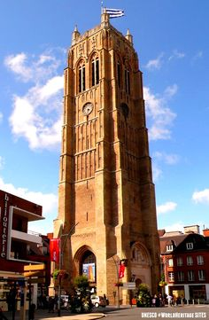 Built between the 11th and 17th centuries, the belfries showcase the Roman, Gothic, Renaissance and Baroque styles of architecture. This one is the St Eloi Belfry of Dunkerque.