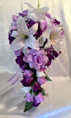 Bridal Bouquet Cascade Lavender Purple Silk Rose Lily Package 21pc Silk Flowers  | eBay