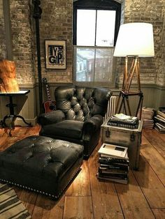 Popular Bachelor Pad Furniture 60 Design Idea For Man Masculine Interior Vintage Brown Leather Chair Store Uk Bedroom Must Hafe Industrial House, Industrial Interiors, Industrial Office, Industrial Chair, Industrial Bedroom, Vintage Industrial, Industrial Style, Loft Interior, Man Cave Interior Ideas