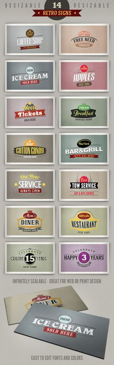 14 retro or vintage style signs (banners). Editable templates to download =)