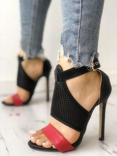 Head over Heels - Contrast Color Buckled Thin Heeled Sandals Stilettos, Pumps Heels, Stiletto Heels, High Heels, Heeled Sandals, Strappy Sandals, Shoes Sandals, Flat Sandals, Lace Up Heels