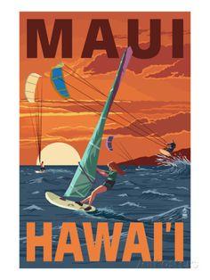 Maui, Hawaii - Windsurfers Scene at Sunset Posters van Lantern Press bij AllPosters.nl