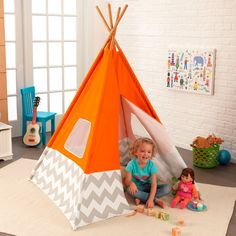 Play TeePee in Orange with Chevron - teepees are a must-have in the kids room or play room! #PNshop