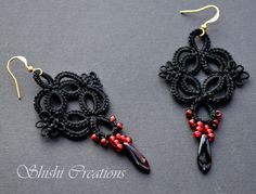 Black Gothic dangle earrings with black and red daggers & glass beads on gold-plated earring hooks – handmade needle tatted lace on Etsy, $16.96