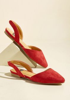 Slingback and Relax Vegan Flat in Ruby | Mod Retro Vintage Flats | ModCloth.com  Whether hitting up a high-class event or sipping coffee at the cafe, these bright red flats let you kick back and enjoy yourself in style. Constructed from a soft, vegan faux suede and touting pointed toes, these ModCloth-exclusive slingbacks are a guaranteed way to know that you look good!