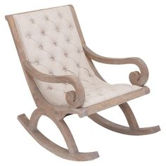 Add a touch of antique-inspired charm to your living room or master suite with this lovely rocking chair, showcasing a wood frame and diamond-tufted seat.  ...