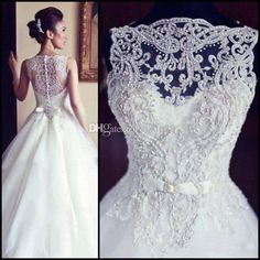 Wholesale A-Line Wedding Dresses - Buy 2014 A Line Wedding Dress with Sheer Straps Buttons Back Bridal Gown Embroidery Ball Gown Wedding Dresses Vestido Noiva BO3039, $119.91 | DHgate