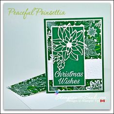 Peaceful Poinsettia Under the Mistletoe - Sandi Maciver - Cardmaking and papercrafting made easy Poinsettia Cards, Snowflake Cards, Christmas Poinsettia, Christmas Tree Cards, Stampin Up Christmas, Xmas Cards, Christmas Wishes, Christmas Ideas, Homemade Christmas Cards