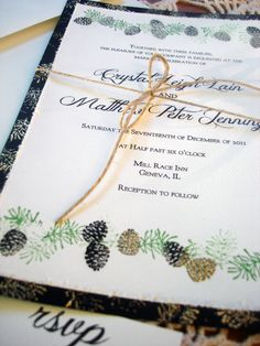 Pine Cone Winter Wedding Invitations hand stamped EMBOSSED. $4.00, via Etsy.