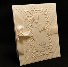 handmade card ... white on white ... Elegant Framed Daisies ... die cuts and embossing folder dots ...