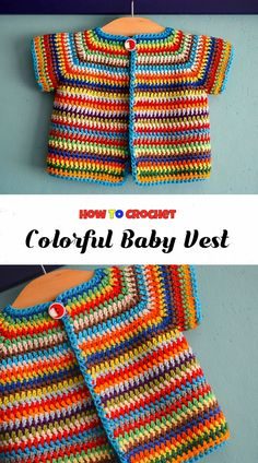 Crochet colorful baby vest pretty ideas bebek baby bebek colorful crochet ideas pretty vest 45 free baby sweater crochet patterns page 34 of 45 Crochet Baby Jacket, Crochet Baby Sweaters, Crochet Vest Pattern, Crochet Baby Blanket Beginner, Crochet Baby Clothes, Crochet Cardigan, Crochet Patterns, Crochet Ideas, Knitted Baby