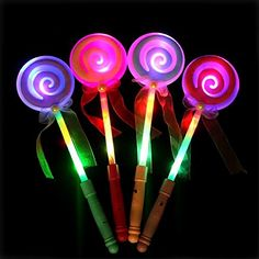 LED Light Up Wand Assorted Color Fairy Lollipop Hand Holder Glow Sticks for Kids Concert Party Favor Night Ball * See this great product. Kids Electronics, Glow Sticks, Lightsaber, Wands, Light Up, Party Favors, Fairy, Led, Concert