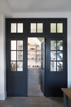 Pantry Room Entrance Door Yes Or No This Georgian Style Quot Joinery Wall Quot Of Dark Doors And Glass Separate The Pantry From The Kitchen But Creates A Very Elegant Feature Designed And Made By Humphrey Munson Pantry Room, Kitchen Pantry, New Kitchen, Kitchen Ideas, Open Pantry, Kitchen Cabinetry, Pantry Lighting, Best Kitchen Design, Dark Doors