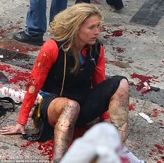 """Some of you will undoubtedly recognize this woman as Nicole Gross. On April 21, she testified under oath that while attending the Boston Marathon on April 15, 2013, her """"right quad was blown open"""" and her feet were hanging on """"by a thread."""" And despite the fact that this image and others like it were widely circulated two years ago, including being plastered on newspaper and magazine covers, the 'defense' let her testimony go unchallenged, as did the reporters covering the trial. If the…"""