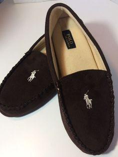 eda5895b332d Men s Ralph Lauren Slippers Polo Horse Pony Logo Brown Terry Lined Size 13M   RalphLauren
