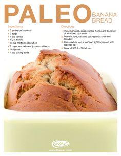 Paleo Banana Bread -- bananas, eggs, vanilla, honey, coconut oil, almond flour, salt, baking soda