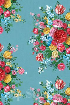 Bouqets of Flowers - Pip Studio III Dutch Painters Bleu 341045 Wallpaper