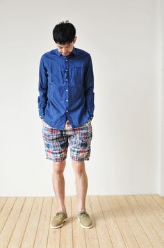 maillot / Sunset indigo small collar shirts