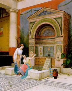 Water colour painting by Luigi Bazzani. A scene in the House of the Large Fountain at Pompeii.
