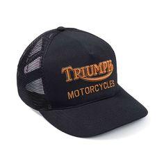 Triumph Oil Trucker Hat - Black / Gold Triumph Motorcycle Clothing, Motorcycle Outfit, Triumph Motorcycles, Paul's Boutique, Black Gold, Biker Jackets, Free Uk, Sweatshirts, Classic