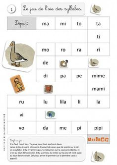 Le jeu de l'oie des syllabes (Bout de Gomme) Could also use frequent sight… French Teacher, Teaching French, Teaching Spanish, French Worksheets, French Kids, French Education, Core French, French Classroom, French Resources