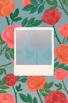 Flower Wallpaper, Pattern Wallpaper, Wallpaper Backgrounds, Rose Frame, Flower Frame, Graphic Wallpaper, Aesthetic Iphone Wallpaper, Polaroid Picture Frame, Instagram Frame Template